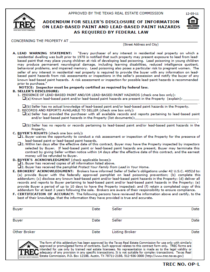 Texas Seller Disclosure Requirement: Addendum For Seller's Disclosure of Information on Lead-based Paint and Lead-based Paint Hazards As Required by Federal Law