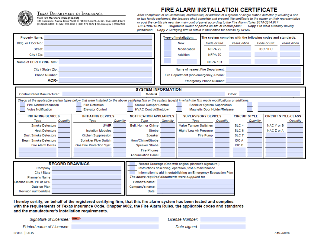 Texas Seller Disclosure Requirement: Fire Alarm Installation Certificate